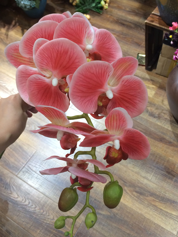 Artificial 3D 90cm Phalaenopsis Latex Coating Silk Flower Real Touch Orchid
