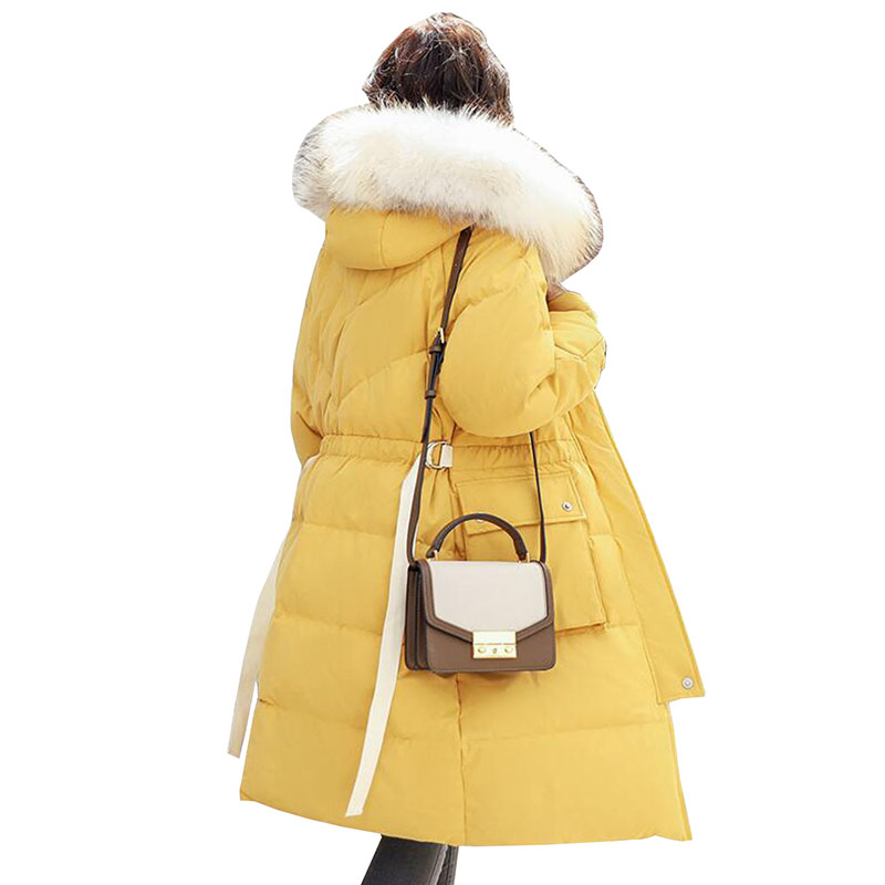 2018 Winter Plus Size Long Womens   Down   Jacket Thicken White Duck   Down     Coat   Fashion Real Fur Collar Hooded Slim Puffer Jackets