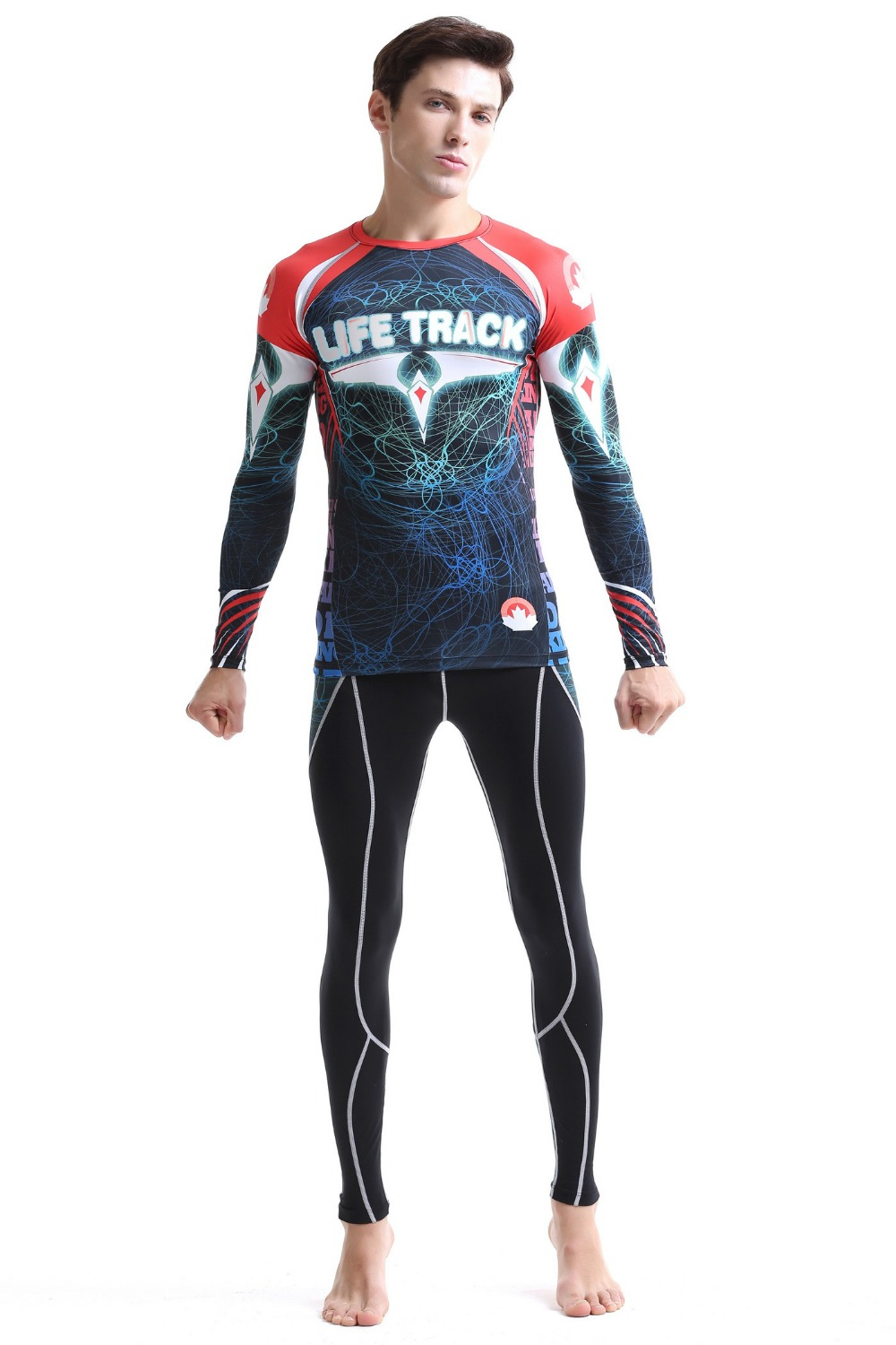 mens tracksuit sportswear running sets suits allover printed mens t-shirt+ pants brand size s-4xl