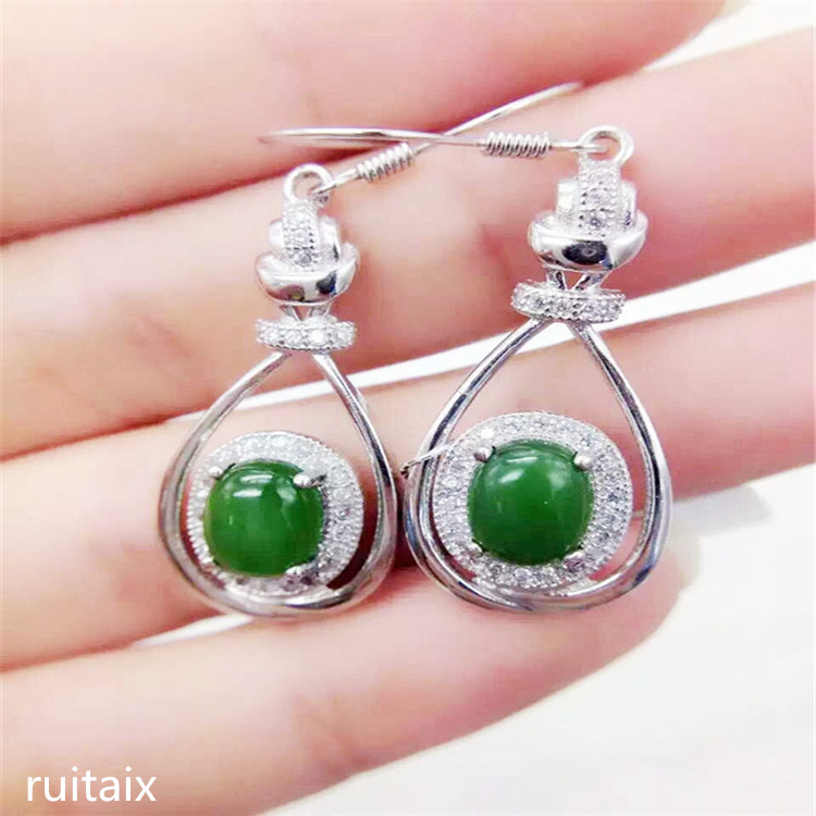 KJJEAXCMY fine jewelry 925 sterling silver inlaid with natural hetian jade medulla ladys ear pendant oval ear hookKJJEAXCMY fine jewelry 925 sterling silver inlaid with natural hetian jade medulla ladys ear pendant oval ear hook