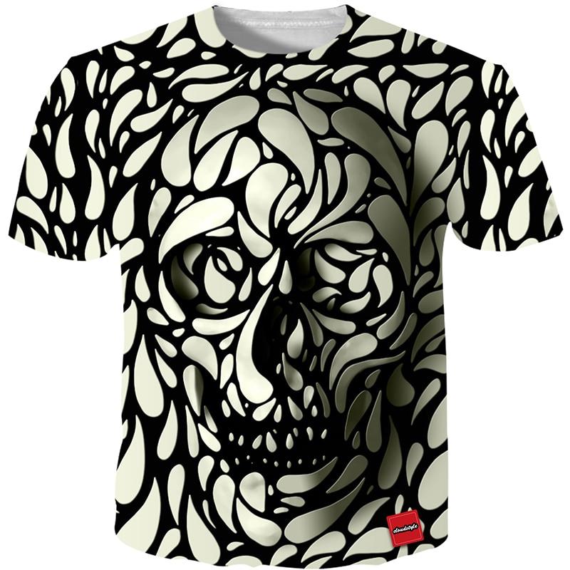 Cloudstyle 3D Tshirt Men 2018 3D Skull Print Fashion Brand Hipster Harajuku Tees Shirt Top Summer