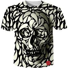 Cloudstyle 3D футболка для мужчин 2018 3D череп модные принты бренд Hipster Harajuku футболки топ летом прохладно уличная плюс размеры 5XL
