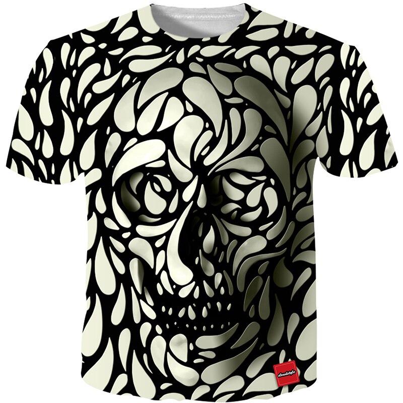 Cloudstyle 3D camiseta hombres 2018 3D impresión del cráneo moda marca Hipster Harajuku camiseta verano Cool Streetwear más tamaño 5XL