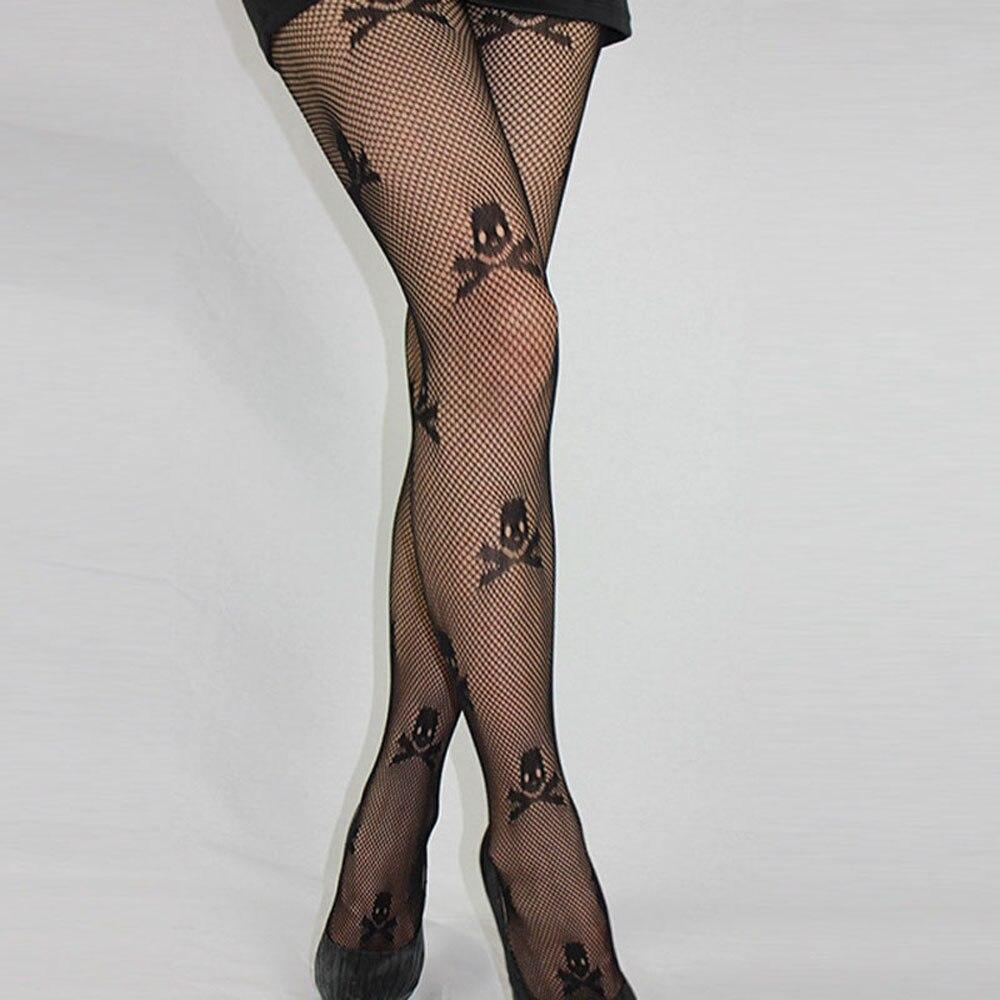 Hot Sale Punk Style Stay Up Thigh High Stockings Fishnet Mesh Skull Print Punk Stretch Women Skeleton Printed Stockings