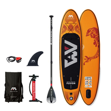 цена на FUSION- 3.15m / 15cm Inflatable Sand Up SUP Paddle Board with Carry Backpack / Air Pump / Fin / Safety Rope / Paddle
