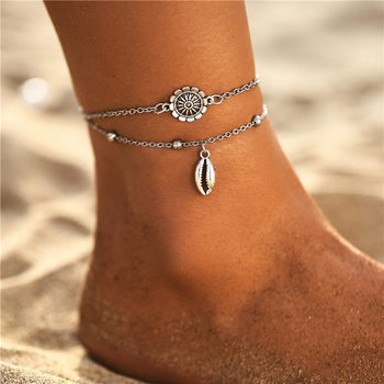 IF ME Bohemian Multilayers Anklets For Women Girl Vintage Silver Color Moon Sun Beach Pendant Ankle Bracelet on Leg Foot Jewelry 2