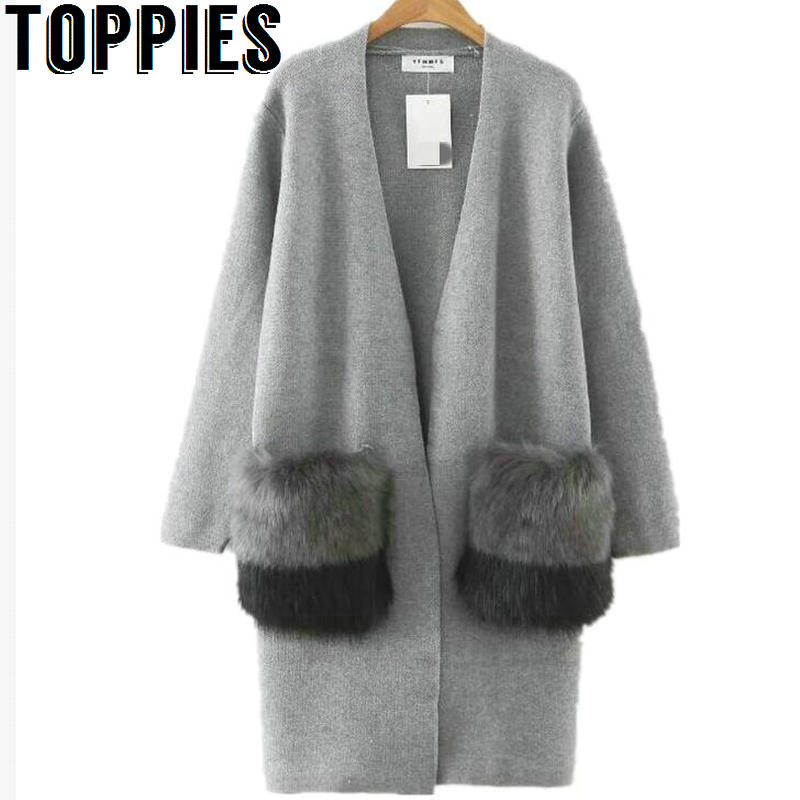 2017 Women Faux Fur Pockets Long Cardigan sueter mujer Female Thick Warm Knitting Open Stitch with Fur Pocket