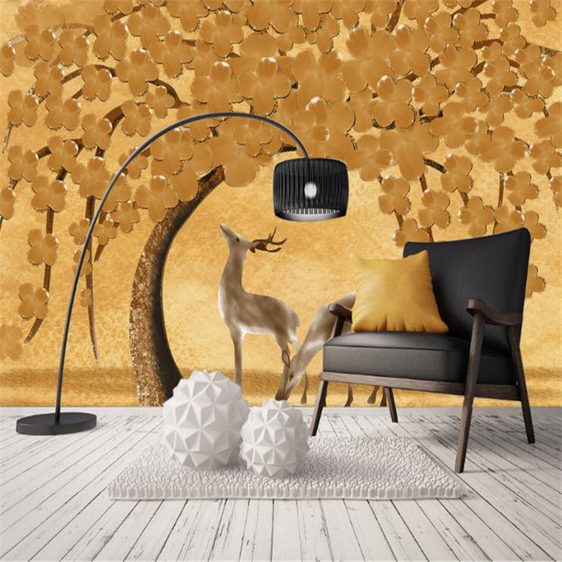 3D Custom Photo Murals Chinese Style Wallpapers Golden Yellow Tree Elk Wall Papers Living Room Bedroom Walls Home Decor Painting custom 3d murals forests trees rays of light tree nature photo wall living room sofa tv wall bedroom restaurant wallpapers