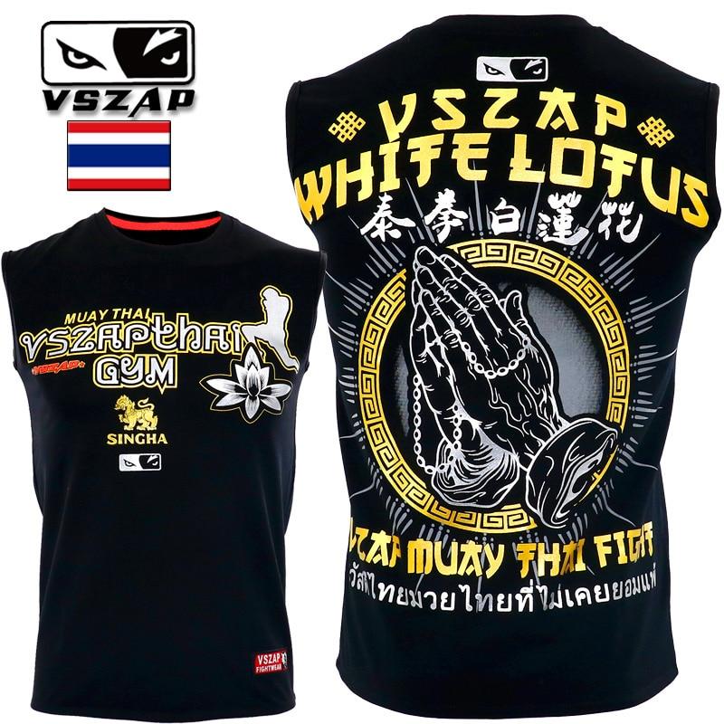VSZAP Sleeveless MMA Boxing Sports Fighting Fitness Elasticity Kylin Jerseys Tights Trousers Sweat Shirts Boxing T Shirt