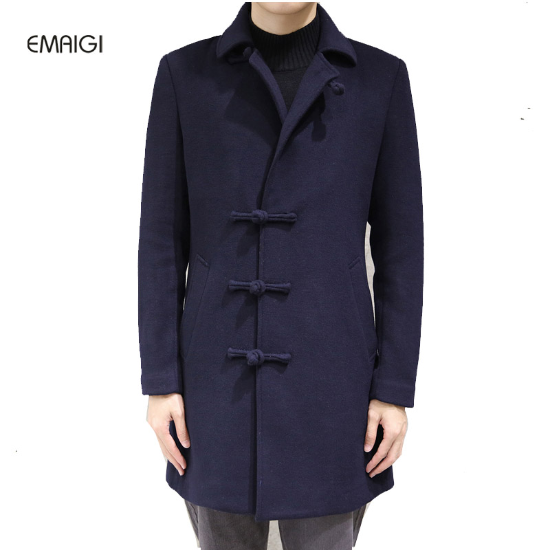 China style button winter spring mens windbreaker woolen thicken coat male long slim fit wool long
