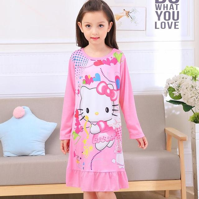 spring and autumn clothes girls pajamas cartoon nightgowns children ...