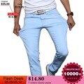 Модные мужские джинсы, новинка 2016, однотонные, стрейчевые узкие джинсы, Мужские повседневные брюки, мужские штаны, Трико - фото
