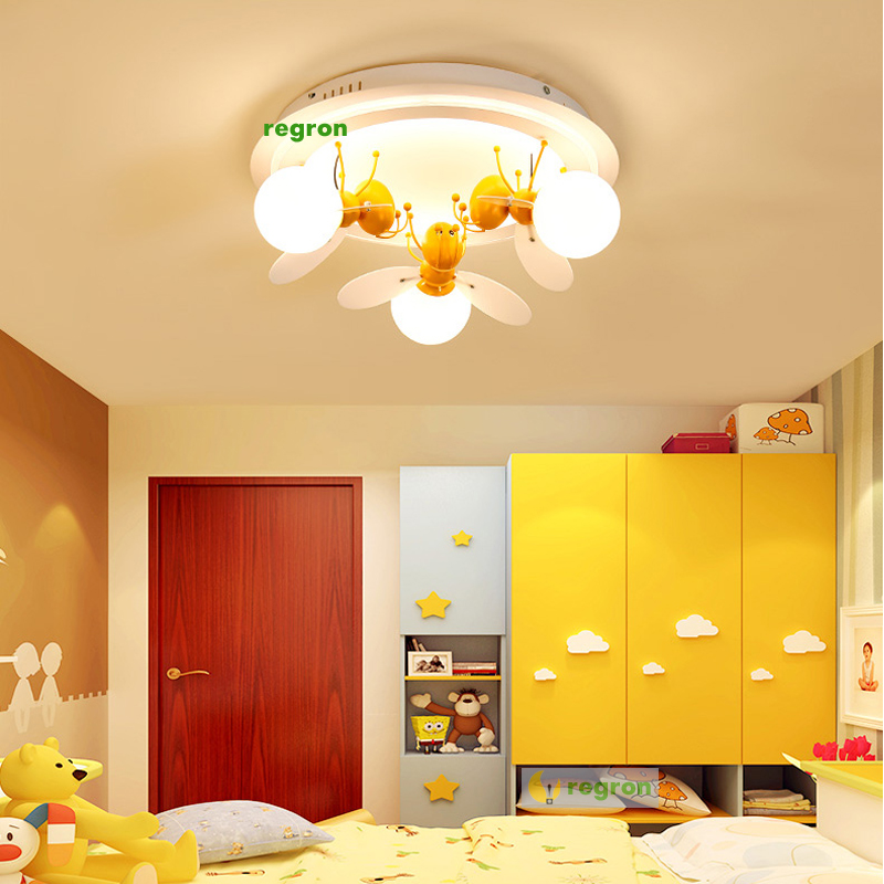 US $163.56 13% OFF|Children\'s Lamps Bedrooms Boys Girls Princesses Lamps  Creative Cozy Personalized Studies Led Ceiling Lamp Bee Lights-in Ceiling  ...