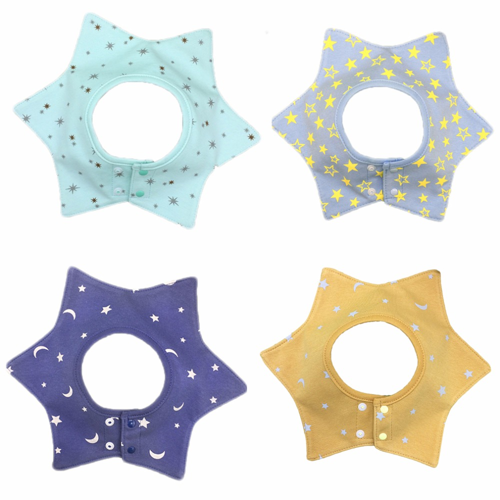 4pcs/set Cotton Baby boys Bibs Star Shape Newborn Bandana Bibs