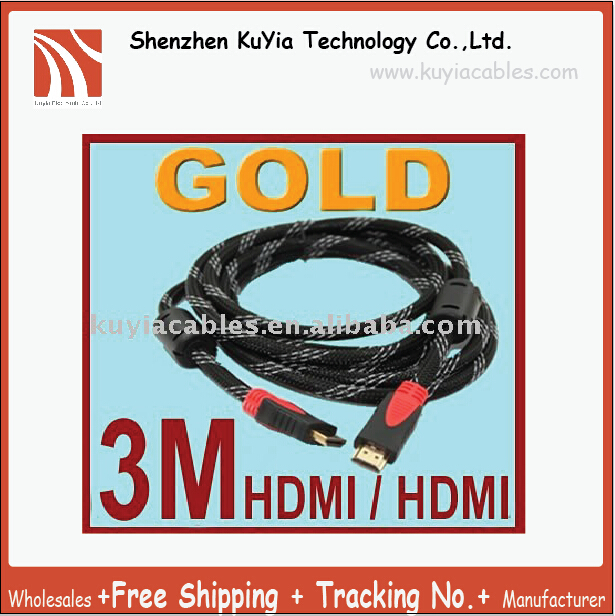 KUYiA Tracking number+Free Shipping+HDMI TO HDMI CABLE CORD 3M 10FT Male M/M for HDTV PS3 GOLD+wholesales+Best quality