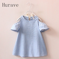Hurave Casual Baby Girl Clothes Summer Dress 2017 Fashion Girls Cotton Striped Dresses Children Clothes Girl