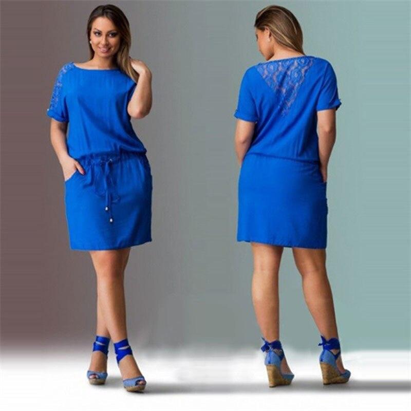 fd63257a46 Big size 6XL woman dress 2019 hot summer short Sleeve patchwork ...