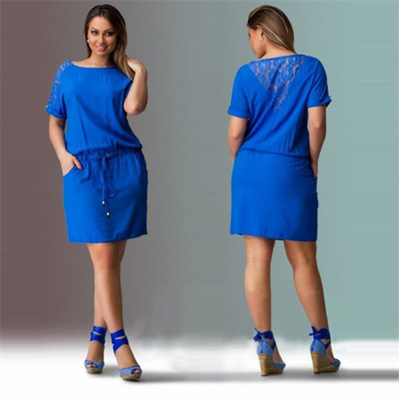 Big Size 6xl Dress 2018 Women Summer Dress Casual Short Sleeve