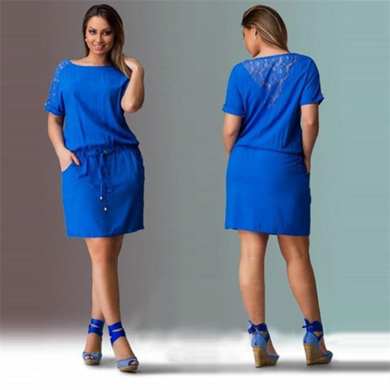 d8513118cae63 Big size 6XL dress 2019 Women Summer Dress Casual short sleeve patchwork dresses  plus size women clothing 6xl dress