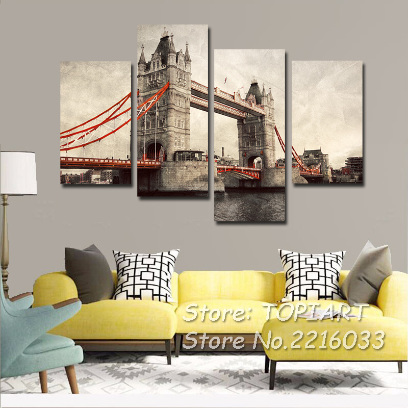 4 Panel Vintage Home Decor City Landmark Wall Picture London Tower ...