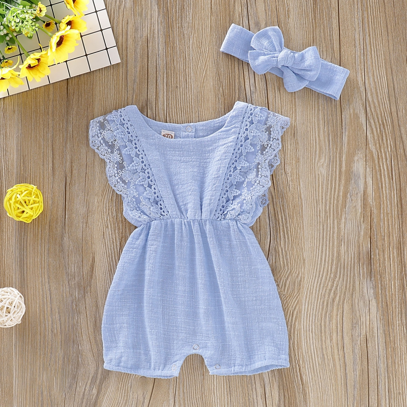 HTB1MU Td.GF3KVjSZFvq6z nXXaV Summer Baby Girl Rompers Newborn Baby Clothes Toddler Flare Sleeve Solid Lace Design Romper Jumpsuit with Headband One-Pieces