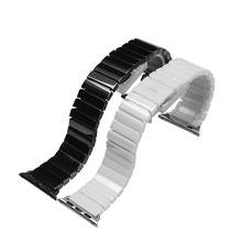 22mm 24mm High quality Silver Depolyment Watchband Black and White Ceramic Watchband Bracelets for Apple smart watch 38mm 42mm