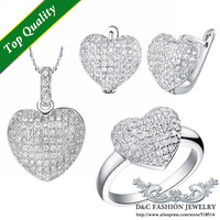 2014 Hot Fashion Crystal Wedding Party Bridal Necklace Earring Ring Size U S 7 8 9