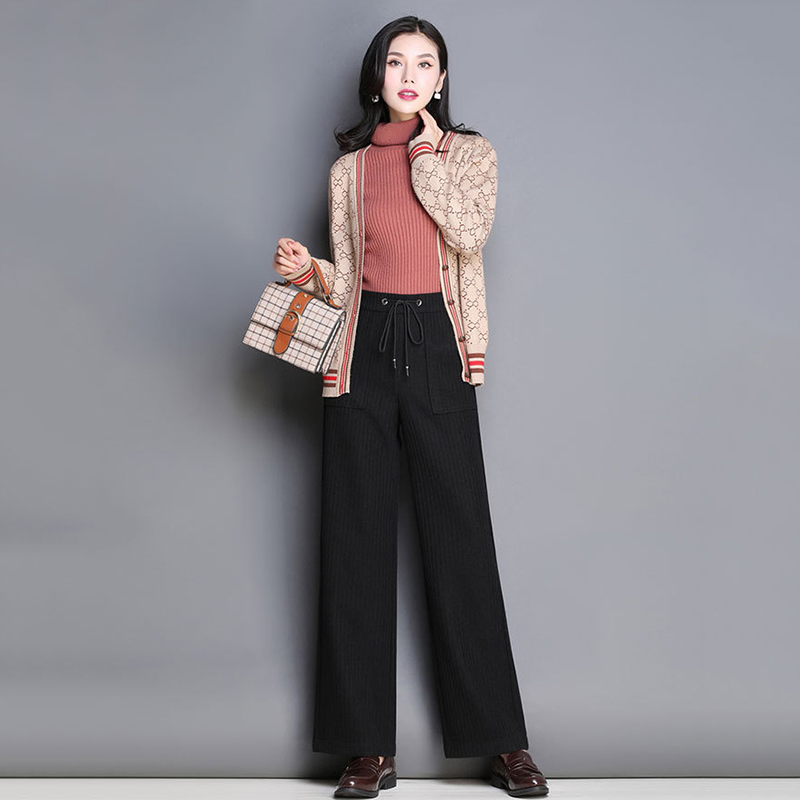 AFIRE LEAF 2018 New Style Autumn Winter Loose Temperament Knit Straight   Pants   Women's Pure Color Casual   Wide     Leg     Pants   6JX7757