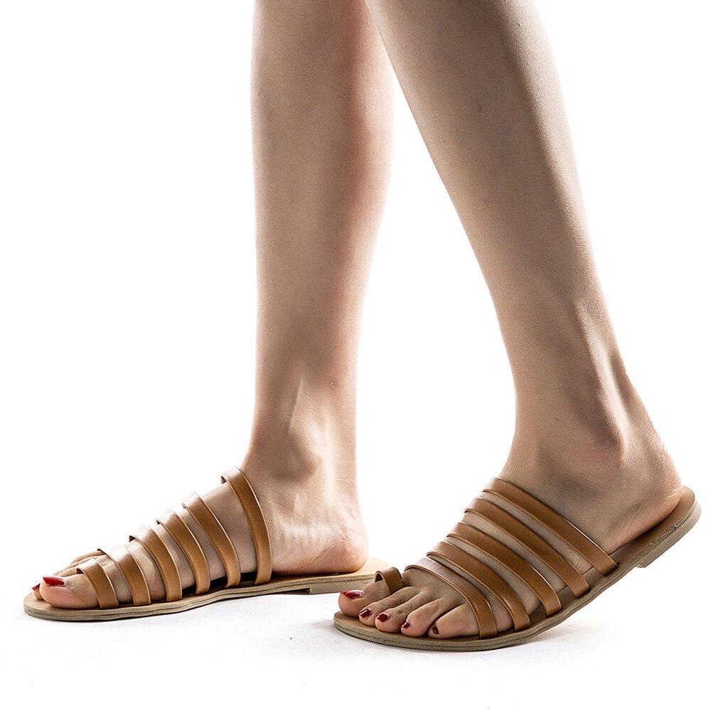 HTB1MUa1LCzqK1RjSZFLq6An2XXai Women Flat Sandals Summer 2019 Gladiator Sandals Ladies Strap Slippers Roman Female Flip Flops Outdoor Casual Sandales Femme