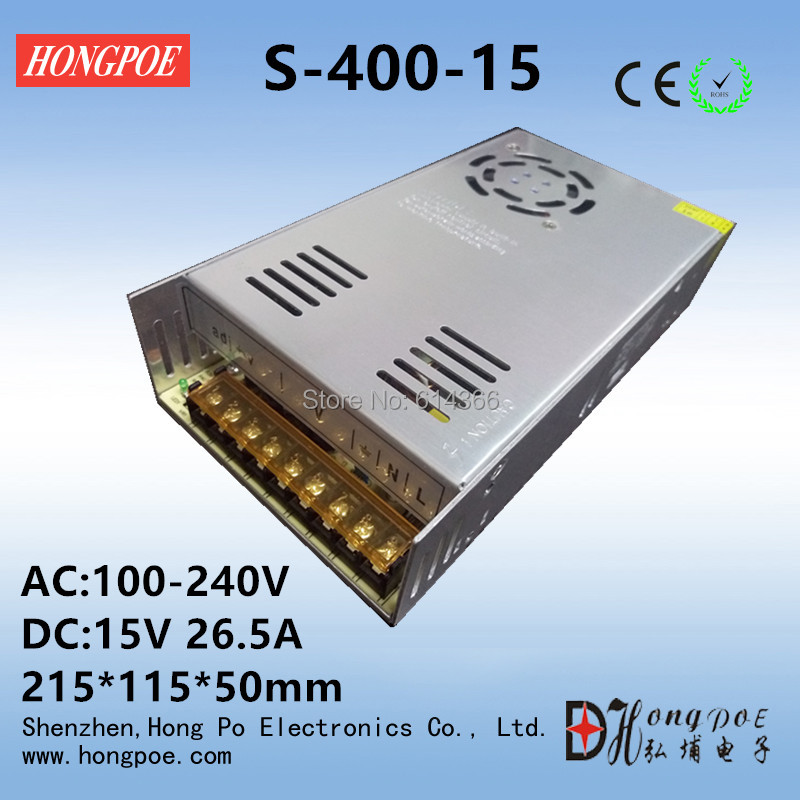 Best quality 15V 26.5A 400W Switching Power Supply Driver for CCTV camera LED Strip AC 100-240V Input to DC 15V free shipping best quality 36v 3 3a 120w switching power supply driver for led strip ac 100 240v input to dc 36v free shipping
