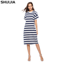 Модное платье Burnt Hole Черно-белые сине-белые горизонтальные полосы с короткими рукавами  прямые