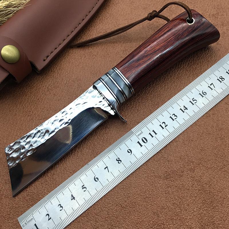 新しい EDC 狩猟ナイフ高硬度固定刃レッドウッドハンドル屋外ナイフサバイバルツールキャンプ faca sharp messer  グループ上の ツール からの ナイフ の中 1