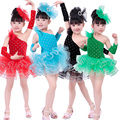 Free Shipping 2016 New Kids Dancing Dress Children Summer Clothes Girls Stage Competition Ballroom Latin Ballet Dance Costumes