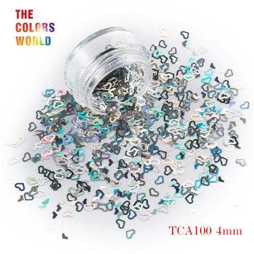 Tct-050 полые сердца Форма Лазерная красочные Глиттеры для ногтей 4 мм Размеры для ногтей Гели для ногтей украшения Макияж facepaint DIY украшения - Цвет: TCA100  50g