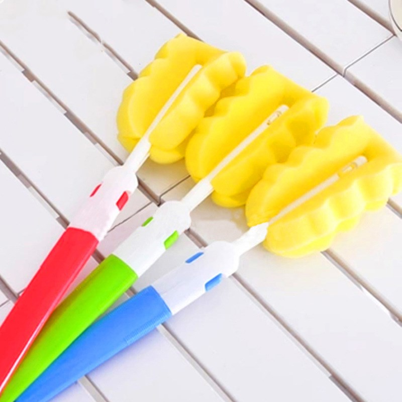 1pcs New Spin Sponge Baby Bottle Brush Newborn Feeding Milk Bottle Nipple Washing Brush Cleaner Cleaning Tool Random Color