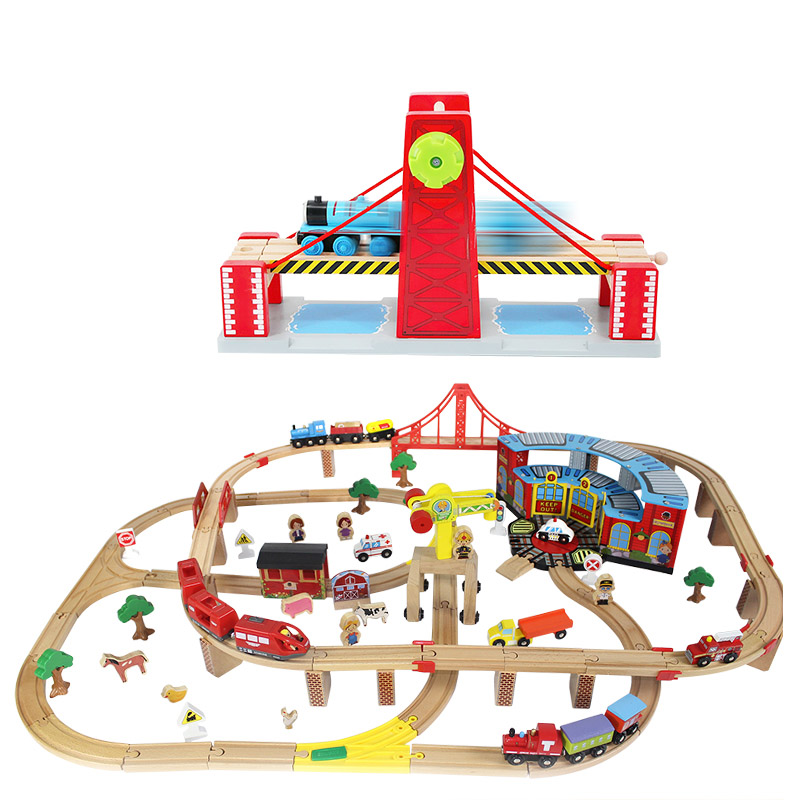 Thomas and Friends Wooden Train Tracks Set Train Accessories Wooden Bridge Track Thomas Train Blocks Toys for Children