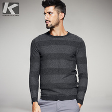 KUEGOU 2017 Autumn And Winter Striped Sweater O neck Cotton Leisure Knitting Mens winter Sweaters gifts