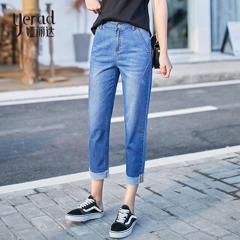 YERAD Women 2019 Summer Mom Jeans Harem Jeans Casual Denim Pants Boyfriends Jeans Ankle Length Retro