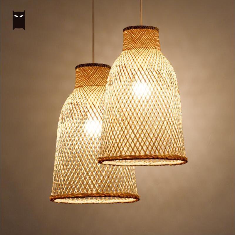 Bamboo Wicker Rattan Lantern Shade Pendant Light Fixture Asian Vintage Hanging Ceiling Lamp for Restaurant Hallway E27 Bulb 220V