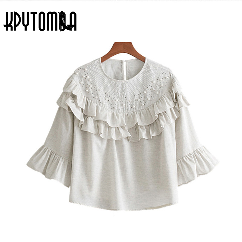 Vintage Elegant Pearls Beading Ruffles Blouse Shirt Women 2017 New Fashion Three Quarter Flare Sleeve Blouses