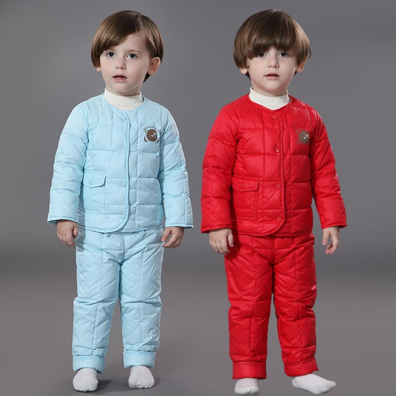 ФОТО Kids Clothes Baby Boys Girls Winter Down Coat Children Warm Jackets  Snowsuit Outerwear Coat+Pant Clothing Sets