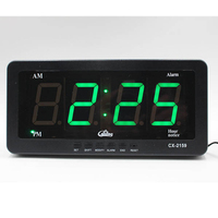 Silence Large Dispaly Alarm Clock , Blue Number Eu Plug Automatical changing of brightness day/night Thermometer Desktop Clocks