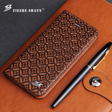 Fierre Shann Cowhide Genuine Leather Flip Case for iPhone X Xs 6 6s Plus 7 8 Plus for Samsung Galaxy S8 S8 Plus Stand Cover