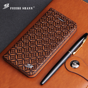 Image 1 - Fierre Shann Cowhide Genuine Leather Flip Case for iPhone X Xs 6 6s Plus 7 8 Plus for Samsung Galaxy S8 S8 Plus Stand Cover