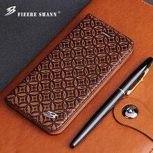 Fierre Shann inek derisi hakiki deri Flip Case iPhone X Xs 6 6s artı 7 8 artı Samsung için galaxy S8 S8 artı standı kapak