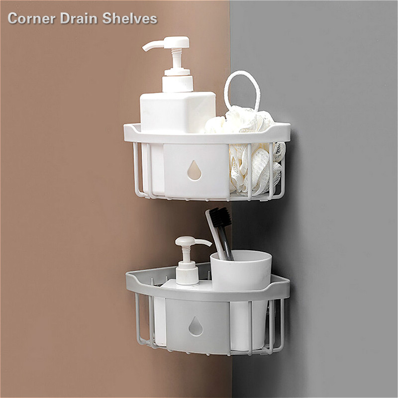 Traceless Plastic Corner Drain Shelve Bathroom Makeup Storage Rack Wash Shower Holder Kitchen Organizer Bathroom Stuff  Gadgets
