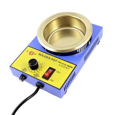 220VAC 300W 3 Flat Pin Plug Solder Pot Solder Desoldering Bath 100mm AU Plug lodestar l904493 23w anti static solder smoke absorber black ac 220v 3 flat pin plug