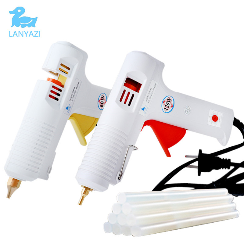 Glue Gun 60/120w Adhesive Gun 110-240V Copper Nozzle With 11mm Glue Gun Stick Kit High Temperature For DIY Home Repair 10pcs wedding invitation card decoration sealing wax stick with exciting color for flexible glue gun