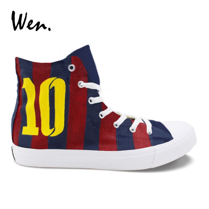Wen Soccer Jersey Football Number 10 Custom Design Canvas Hand Painted Shoes High Top Men Women's Casual Sneakers Flats tiebao soccer sport shoes football training shoes slip resistant broken nail professional sports soccer shoes