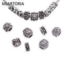MJARTORIA 12PCs Fixed Mixed Spring Flower Charm Beads Set Fit Women European Charm Bracelets Beads For Jewelry Making DIY